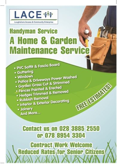 Lace social enterprise organisation in dungannon uk for Home and garden maintenance services