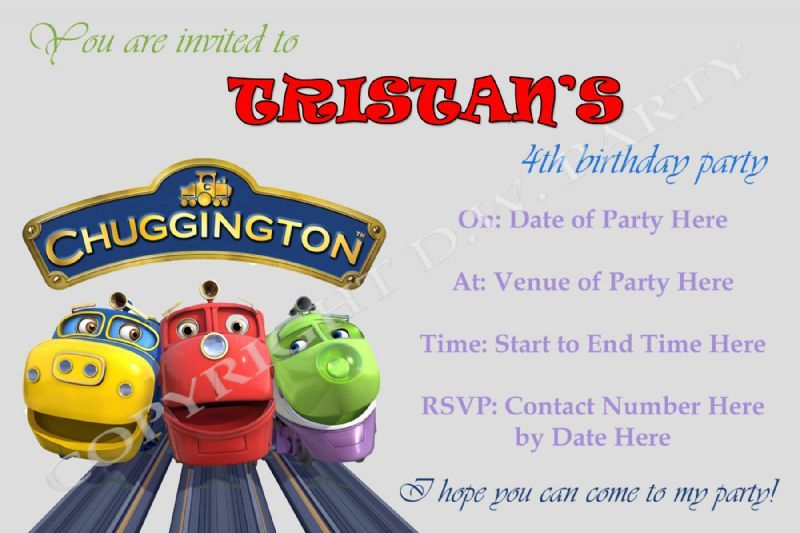 DW Party Designs Childrens Party Organiser in The City – Chuggington Party Invitations