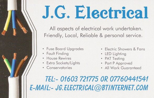 Business cards electrician choice image card design and card template jg electrical electrician in salhouse norwich uk 1 photo reheart choice image colourmoves