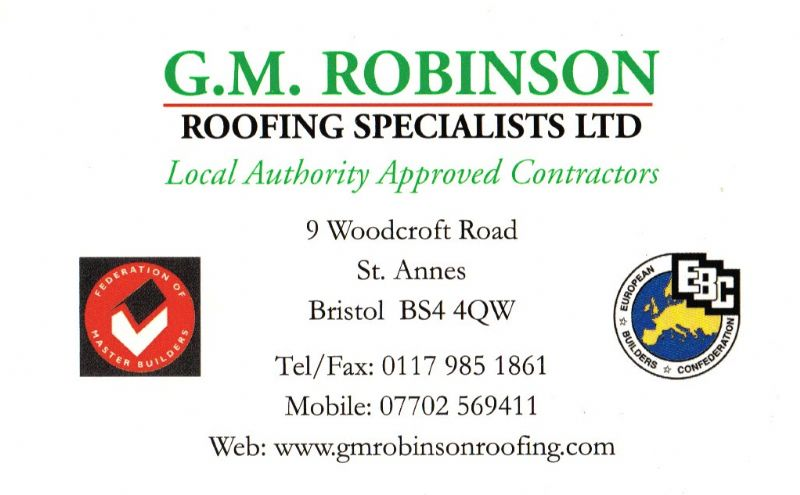G M Robinson Roofing Specialists Ltd Bristol 3 Reviews