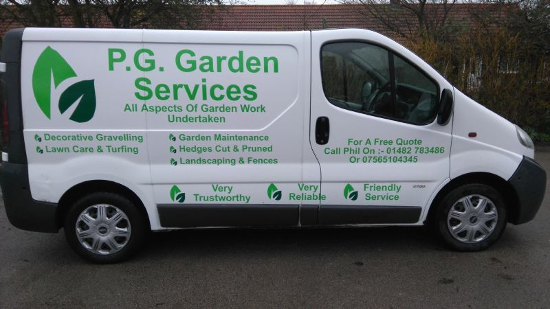 p g garden services gardener in hull uk On garden maintenance van