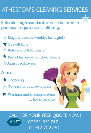 Atherton 39 s cleaning services wigan 5 reviews domestic for Ironing service flyer template